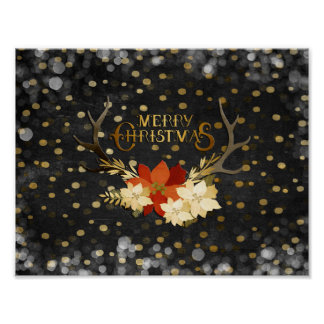 Merry Christmas Floral Antlers Confetti Poster