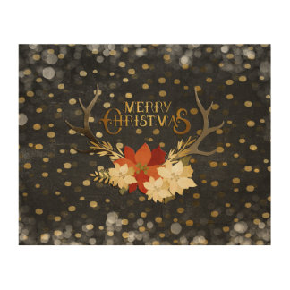 Merry Christmas Floral Antlers Confetti Wood Print