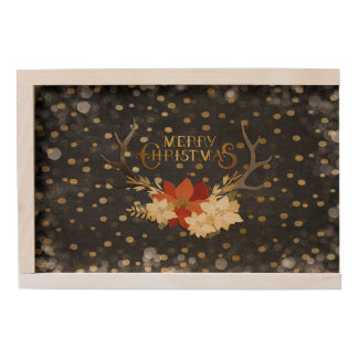 Merry Christmas Floral Antlers Confetti Wooden Keepsake Box