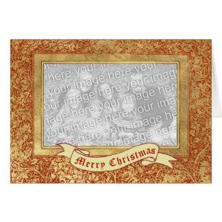 Merry Christmas Floral Border Photo Frame Card