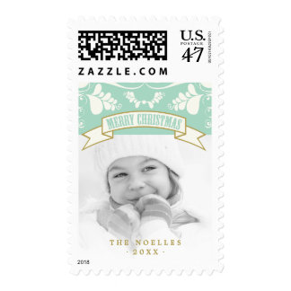 Merry Christmas Floral Deco Holiday Photo Stamps