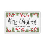 Merry Christmas Floral Pine Branch & Berry Custom Acrylic Tray