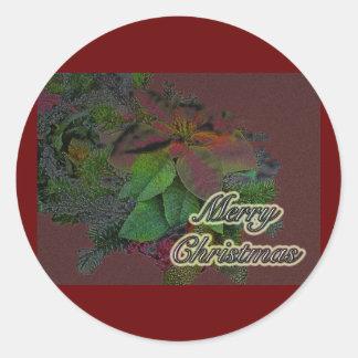 Merry Christmas Floral Poinsettia Series Round Sticker