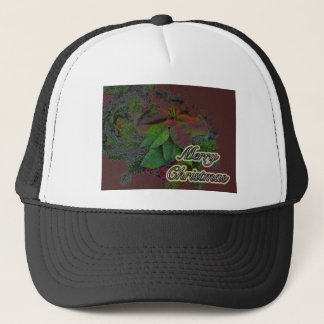 Merry Christmas Floral Poinsettia Series Trucker Hat