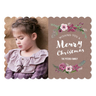 Merry Christmas floral wreath Holiday | Photo Card