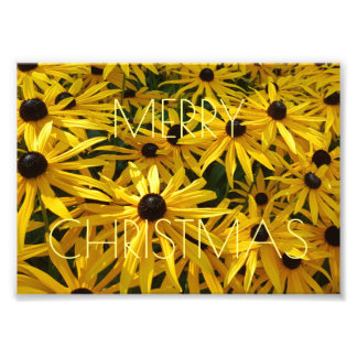 Merry Christmas Floral Yellow Flower Photography Photo Print