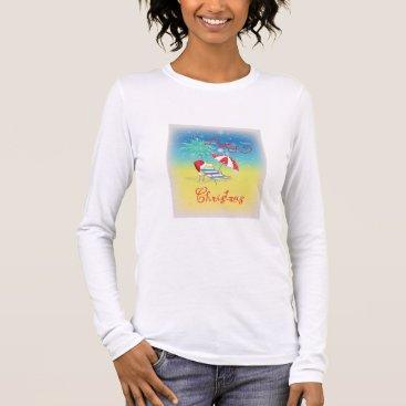 Beach Themed Merry Christmas Florida Snow Flakes Long Sleeve T-Shirt