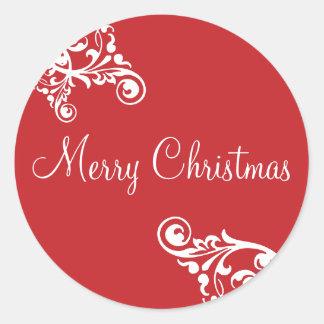 Merry Christmas Flourish Envelope Sticker Seal