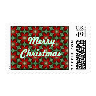 Merry Christmas Flowers Postage