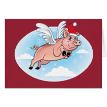 Merry Christmas Flying pig Greeting Card