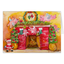 Merry Christmas Flying Pigs Decorate Hearth & Home Card
