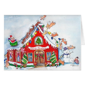 Merry Christmas Flying Pigs Decorate  the Home Cards