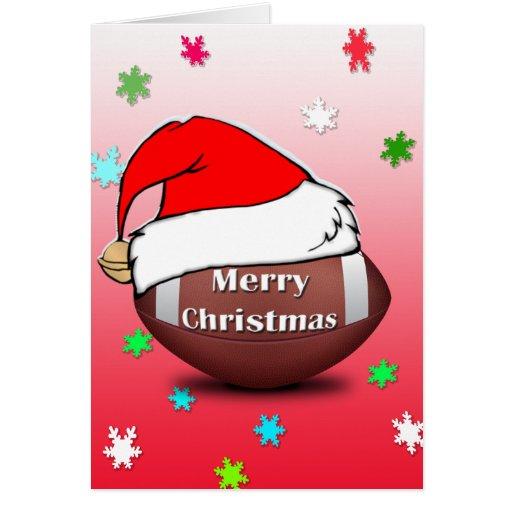 Merry christmas football with santa hat card zazzle