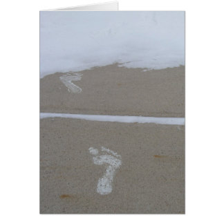 Merry Christmas Footprints in the Snow Card