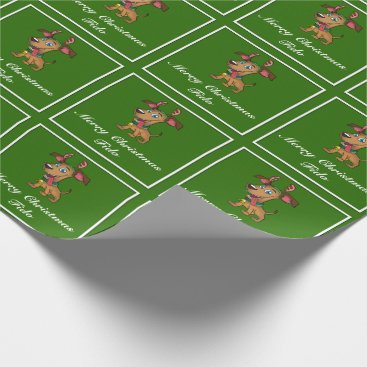 Aqua Merry Christmas for Dogs Wrapping Paper