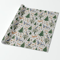 Merry Christmas Forest Animals Owl Wrapping Paper