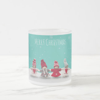 Merry christmas fraternity frosted glass coffee mug