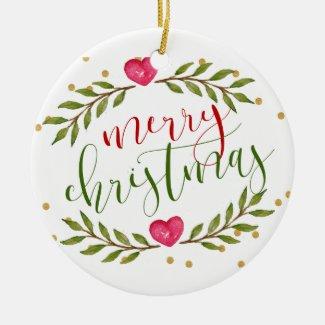 Merry Christmas Fresh Floral Glitter Dots Ornament