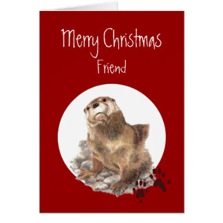 Merry Christmas Friend Otter Animal Humor Card