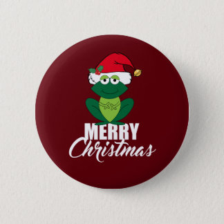 Merry Christmas Frog Pinback Button