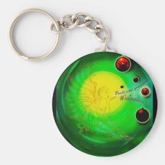 Merry Christmas - Frohe Weihnachten - Christmas, Basic Round Button Keychain