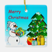 Merry Christmas From A Snowman Ceramic Ornament