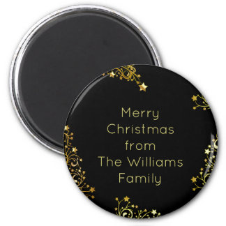 Merry Christmas from Add Your Name Black Gold 2 Inch Round Magnet