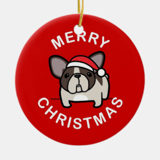 Merry Christmas from Brindle Pied Santa - Red Double-Sided Ceramic Round Christmas Ornament