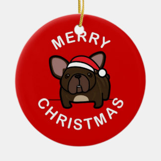 Merry Christmas from Brindle Santa Frenchie - Red Double-Sided Ceramic Round Christmas Ornament