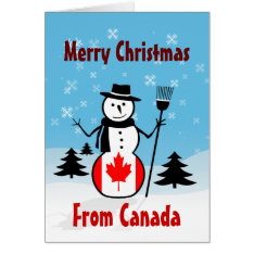 Merry Christmas From Canada Snowman Canadian Flag Card at Zazzle