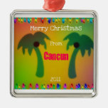 Merry Christmas from Cancun  2011 Square Metal Christmas Ornament