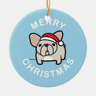 Merry Christmas from Cream Santa Frenchie - Blue Double-Sided Ceramic Round Christmas Ornament
