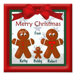 Merry Christmas From Family of Three Gingerbread Card