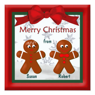 Merry Christmas From Family of Two Gingerbread Card