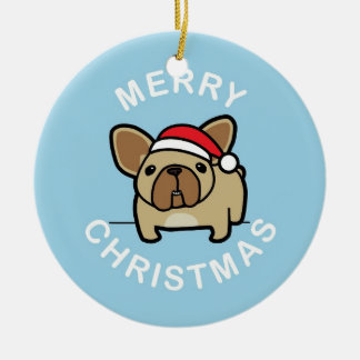 Merry Christmas from Fawn Santa Frenchie - Blue Double-Sided Ceramic Round Christmas Ornament