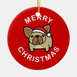 Merry Christmas from Fawn Santa Frenchie - Red Christmas Tree Ornaments