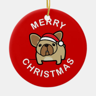 Merry Christmas from Fawn Santa Frenchie - Red Double-Sided Ceramic Round Christmas Ornament
