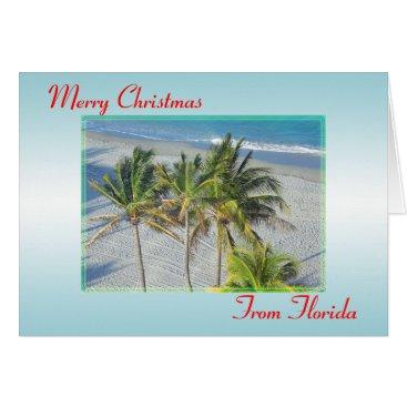 Beach Themed Merry Christmas From Florida Christmas Card, Beach Card