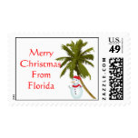 Merry Christmas from Florida, snowman under palm Postage Stamps