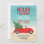 """Merry Christmas From Florida Tropical Beach Holiday Card<br><div class=""""desc"""">This fun Merry Christmas from Florida card is our version of the fabulous red pick-up truck snowy parts of the world are sending this holiday season. It features a red convertible -- top down, of course! -- with a Christmas tree stowed in the back seat on its way home to...</div>"""