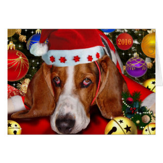 Merry Christmas from Holmes the Basset Hound Card