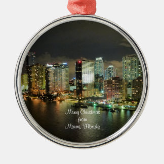 Merry Christmas from Miami, Florida Metal Ornament