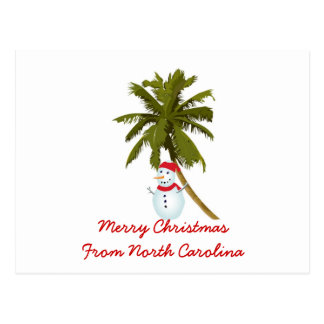 Merry Christmas from N. Carolina, Snowman palm Postcard