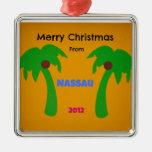 Merry Christmas from Nassau 2012 Square Metal Christmas Ornament