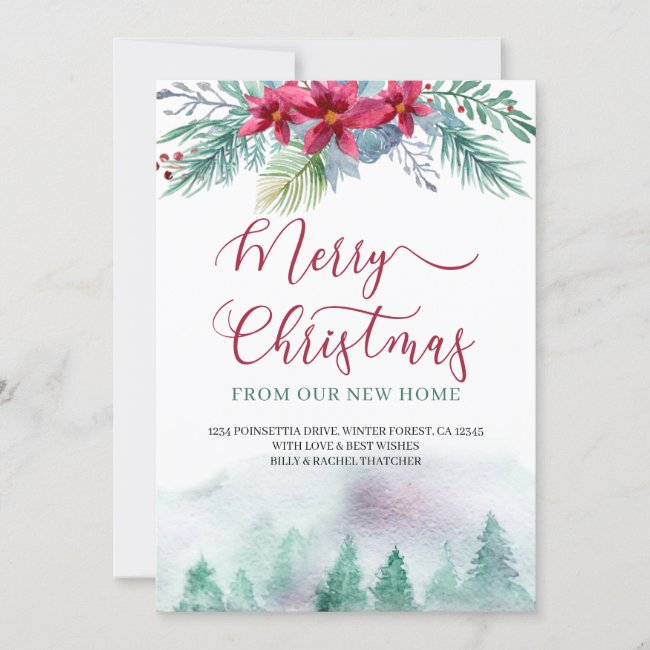 Merry Christmas from New Home Watercolor Forest Announcement