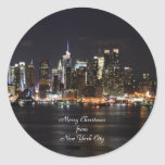 Merry Christmas from New York City Classic Round Sticker