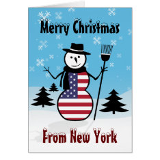 Merry Christmas From New York Snowman US Flag Card at Zazzle