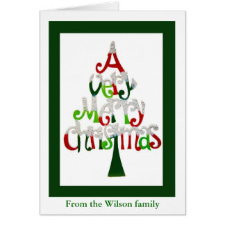Merry Christmas from our family with xmas tree Card