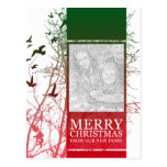 merry christmas from our new home (silhouscreen) postcard