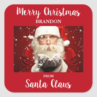 Merry Christmas From Santa Claus ADD NAME Square Sticker